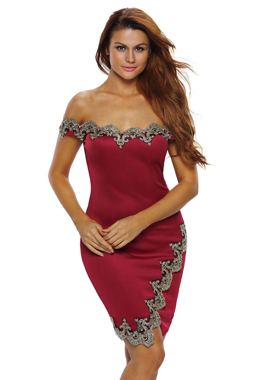 Gold lace applique red off shoulder mini dress robes pinterest