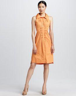 I like the smocking detail : Elie Tahari Erin Smock-Panel Dress
