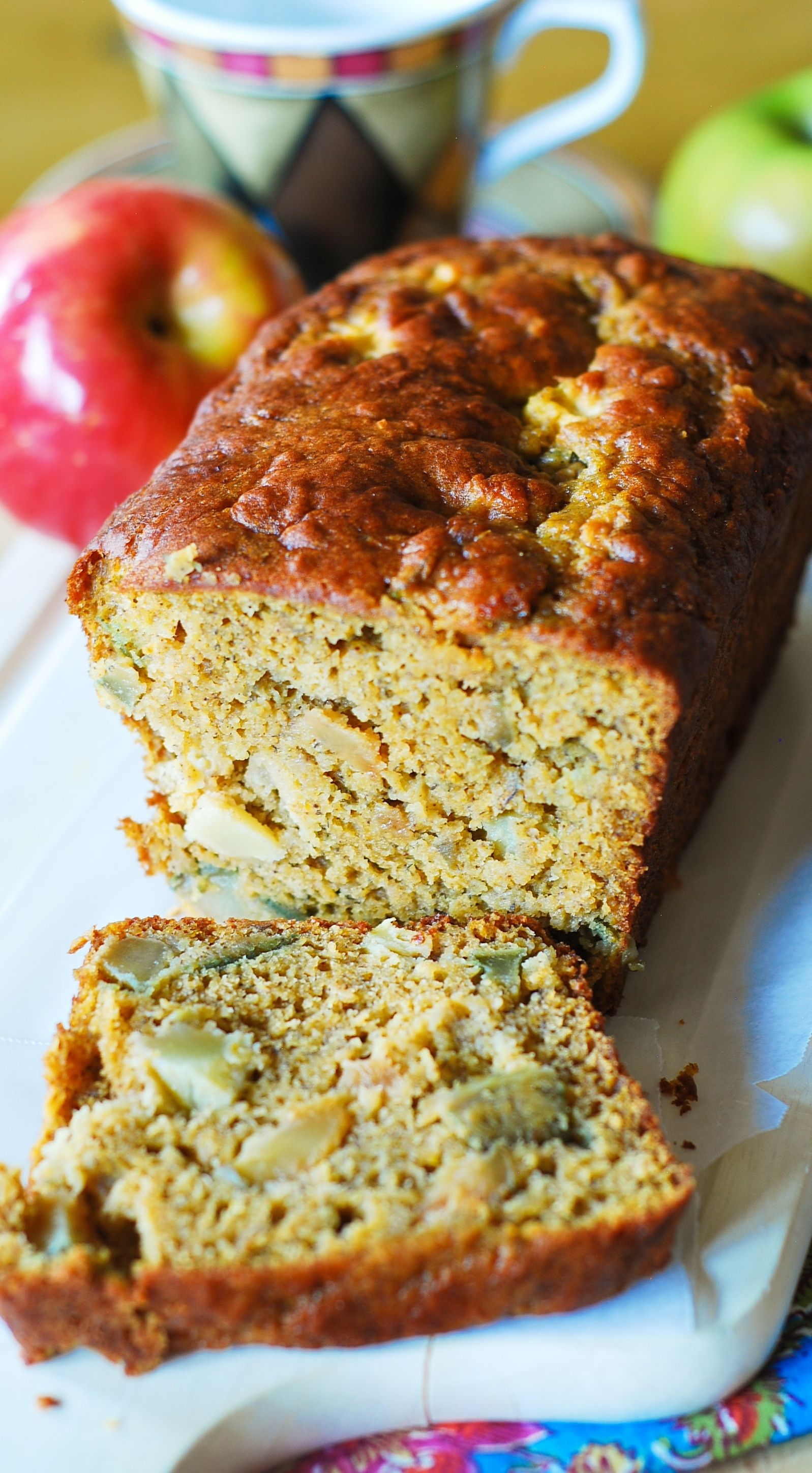 Low-fat pumpkin bread stuffed with apple chunks, flavored with cinnamon and vanilla. Made with ...
