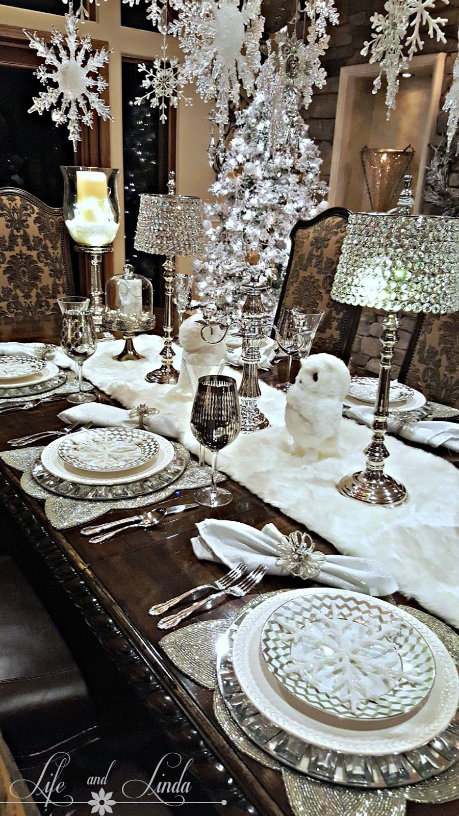 Snowflakes And Baubles Tablescape Holiday Tablescape