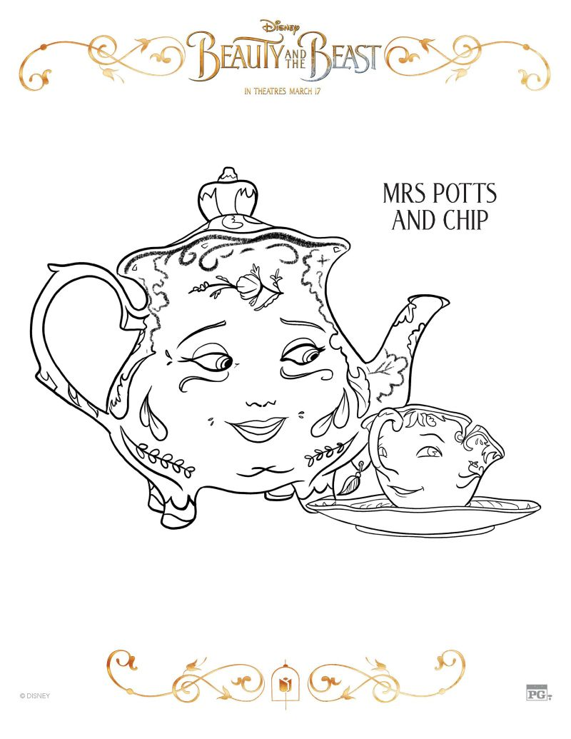 Disney Beauty And The Beast Mrs Potts And Chip Coloring Page