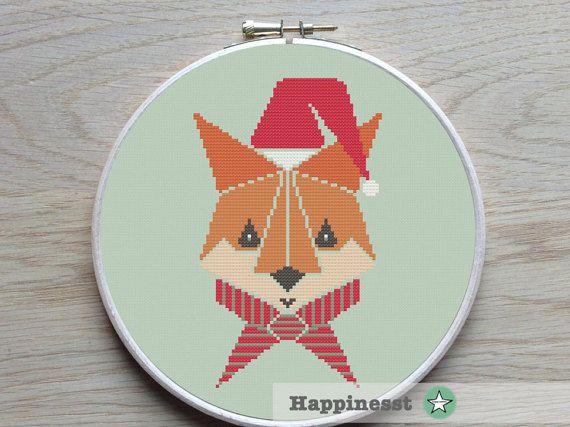 Kerst cross stitch patroon fox, geometrische patroon, moderne cross stitch, bos, PDF ** instant download **