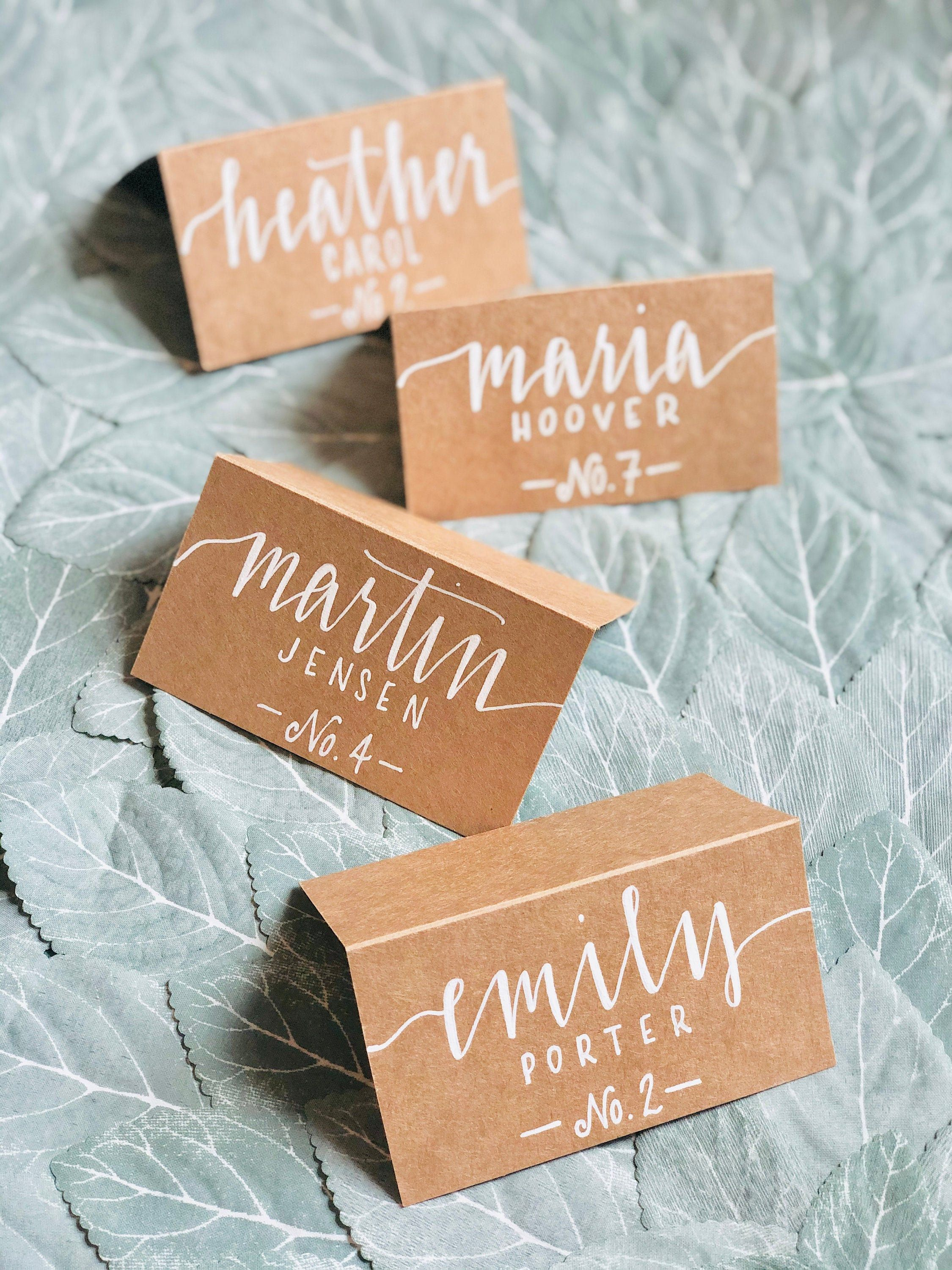 Calligraphy place cards handlettered wedding name cards