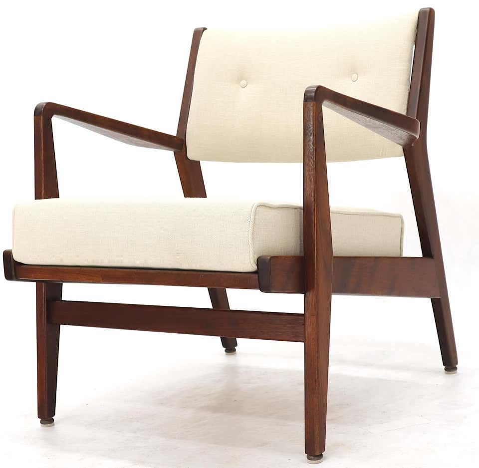 Midcentury Jens Risom Upholstered Floating Lounge Chair: Pair Of Mid-Century Modern Walnut