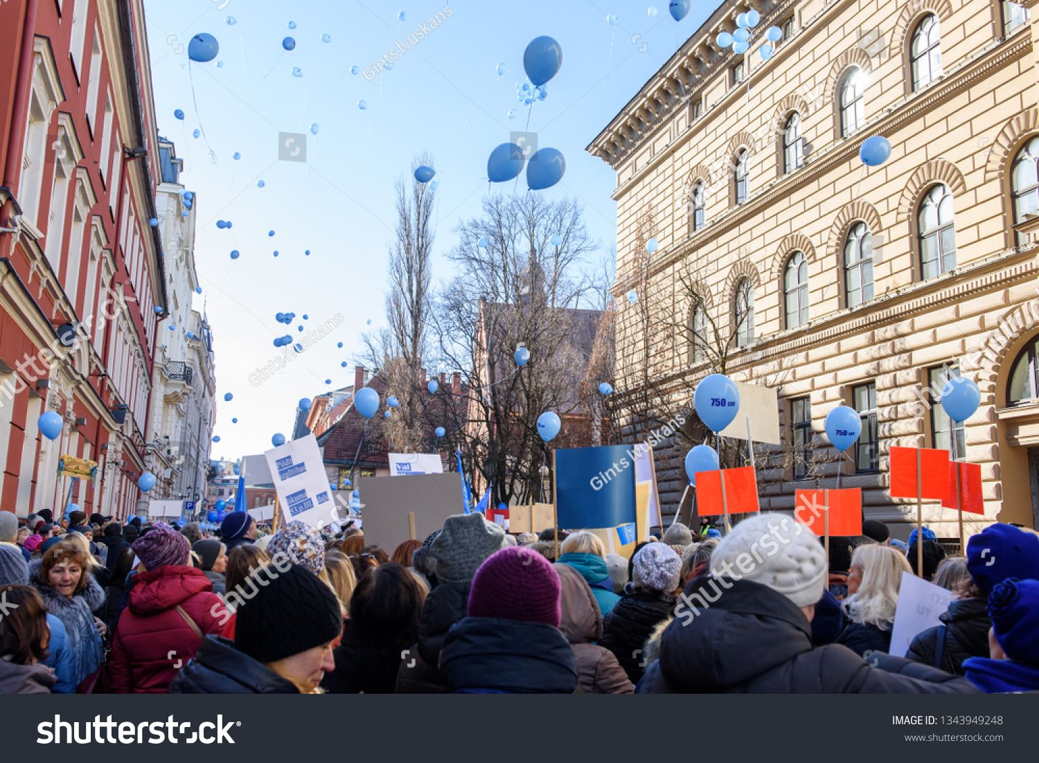 20 03 2019 Riga Latvia Teachers Participate At Picket Protest For Pay Rise Organised By Latvian Trade Union Of Education And Sc Teachers Riga Latvia Latvia