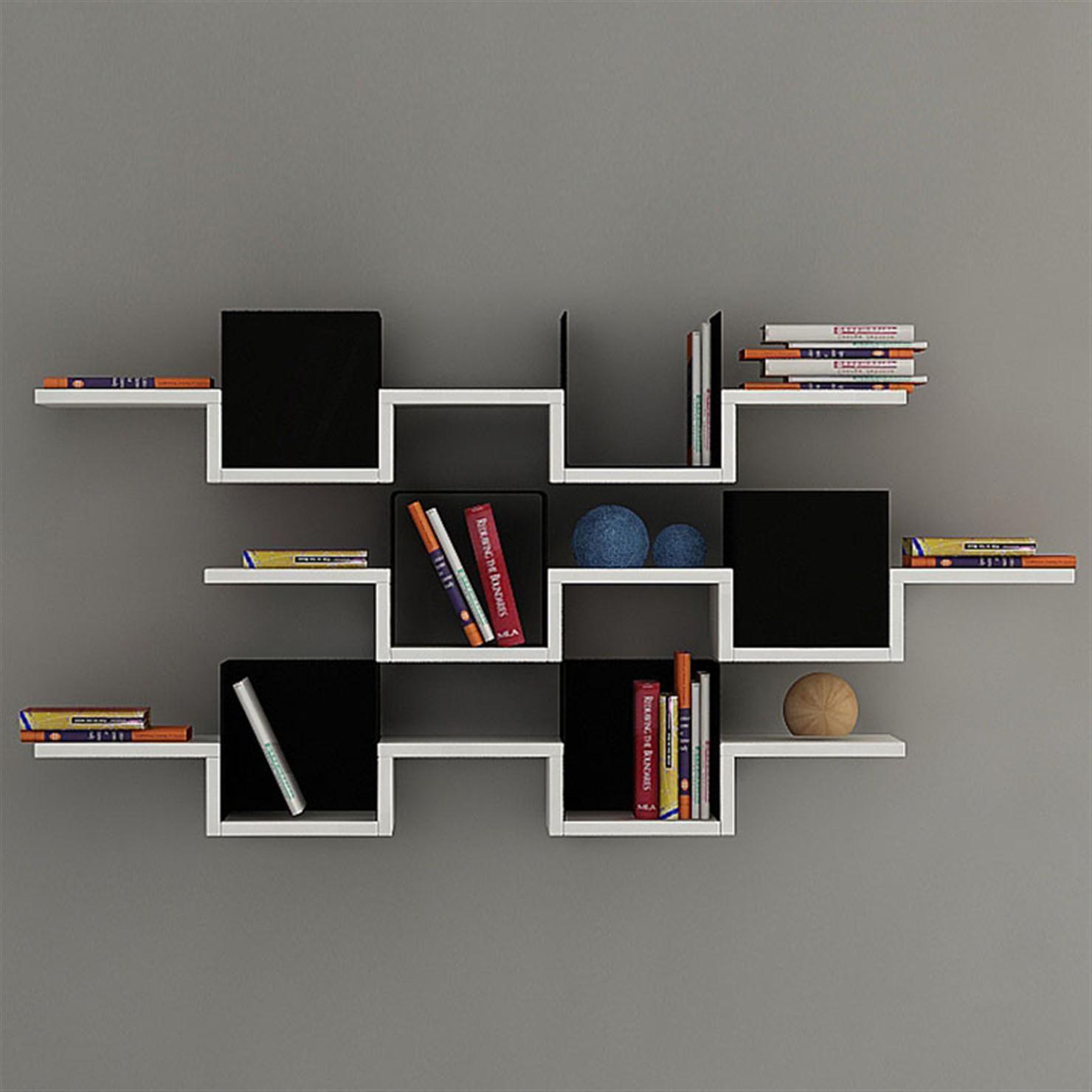 Decortie Ales 3 Tier Wall Shelf White Black Achica Wall