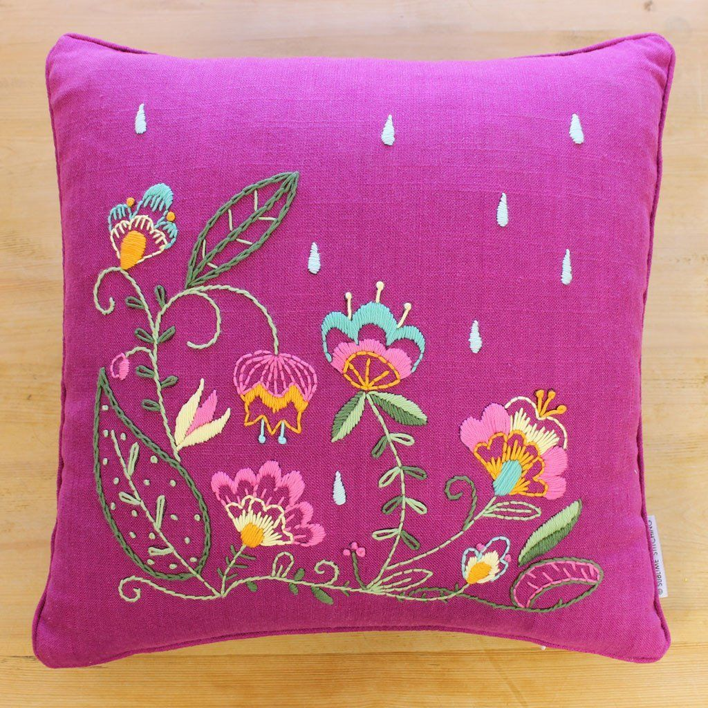 Embroidery pillow kit oscarus bouquet embroideryprojects