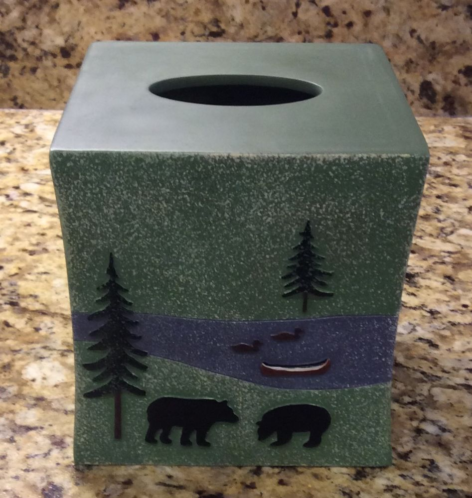 Square Holder Mountain Bear Tissue Box Cover