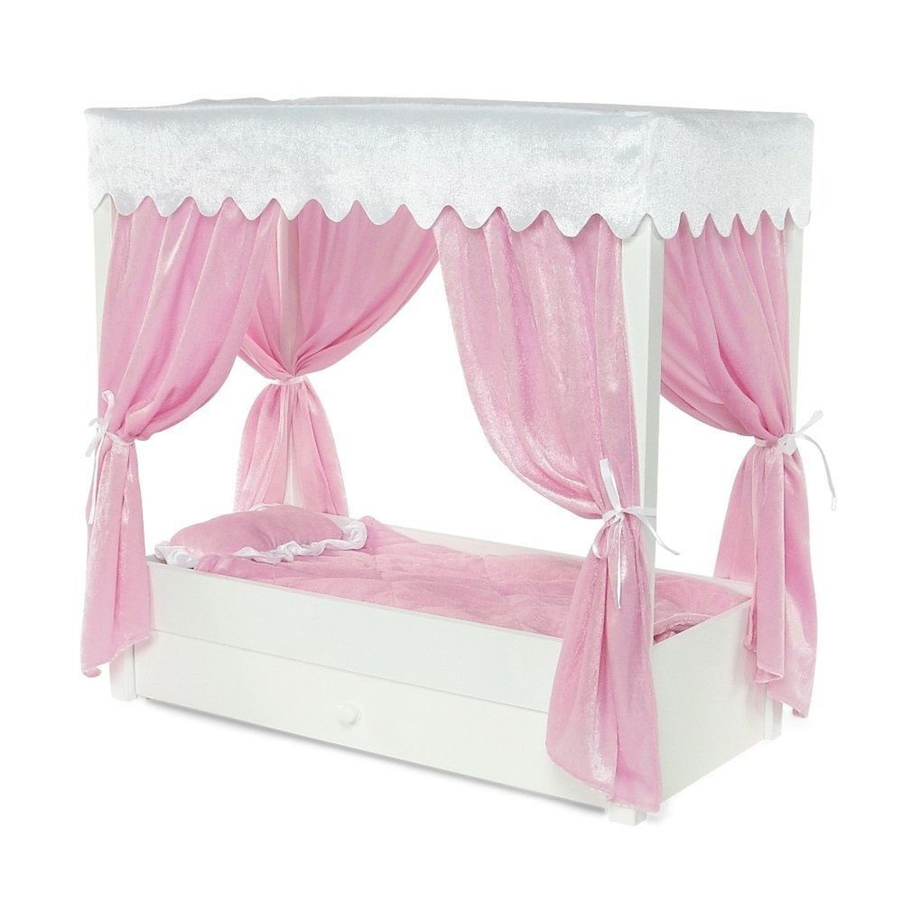 For American Doll Canopy Bed Trundle Storage Inch Dolls Furniture