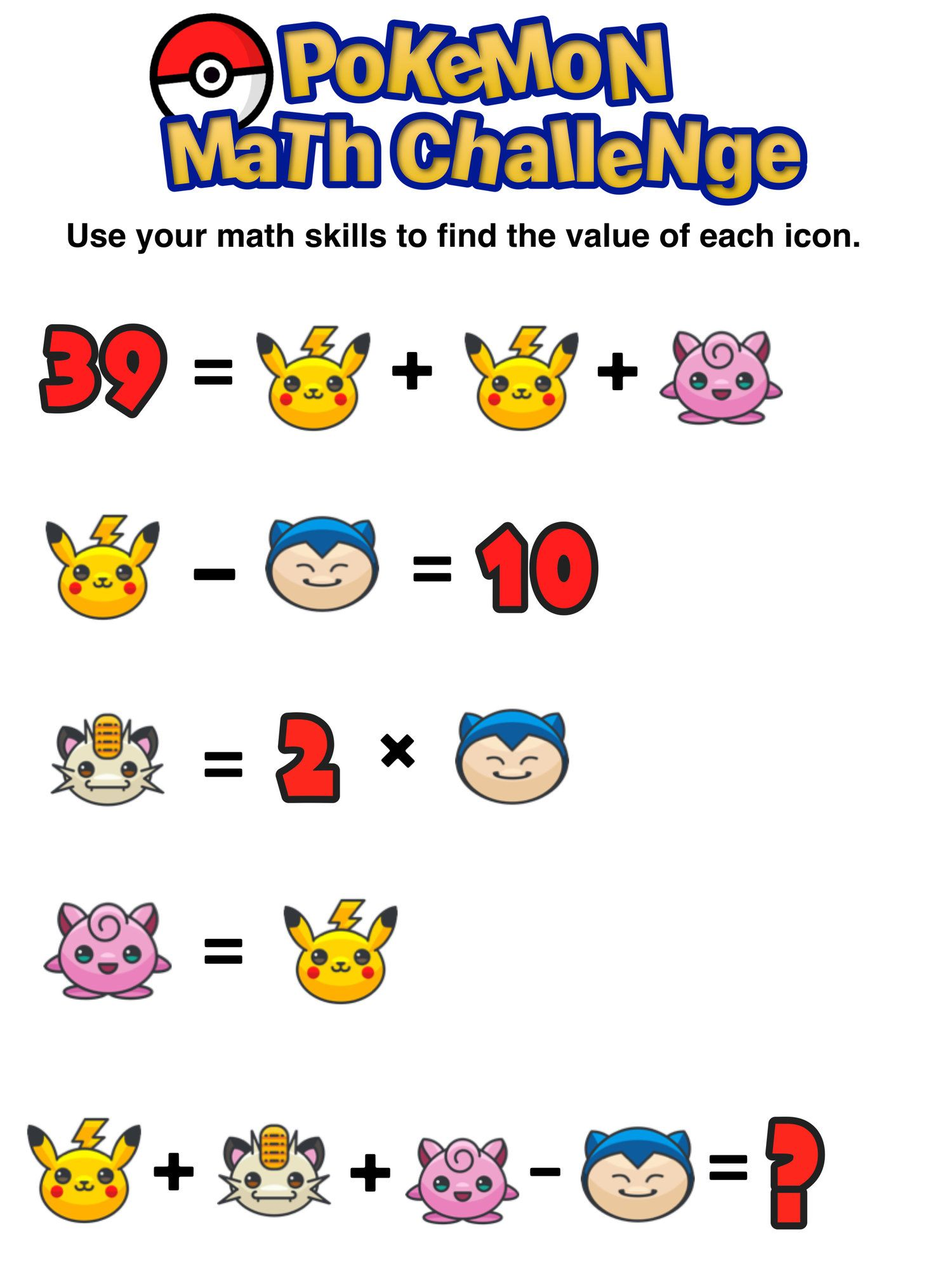 Have You Seen These Free Pokemon Math Puzzles