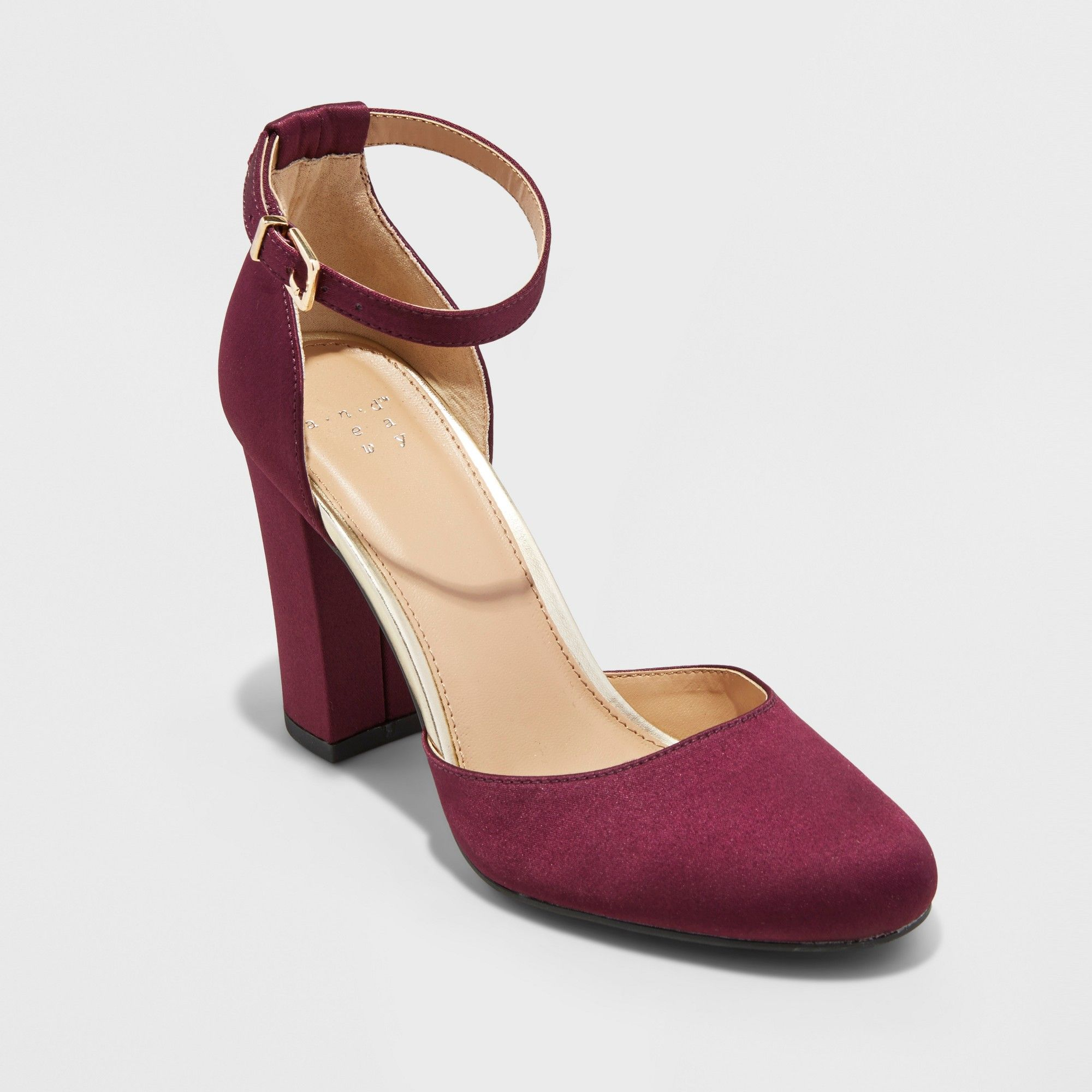 Black lace dress red shoes  Womenus Eloisa Satin Mary Jane Heel Pumps  A New Day Burgundy Red