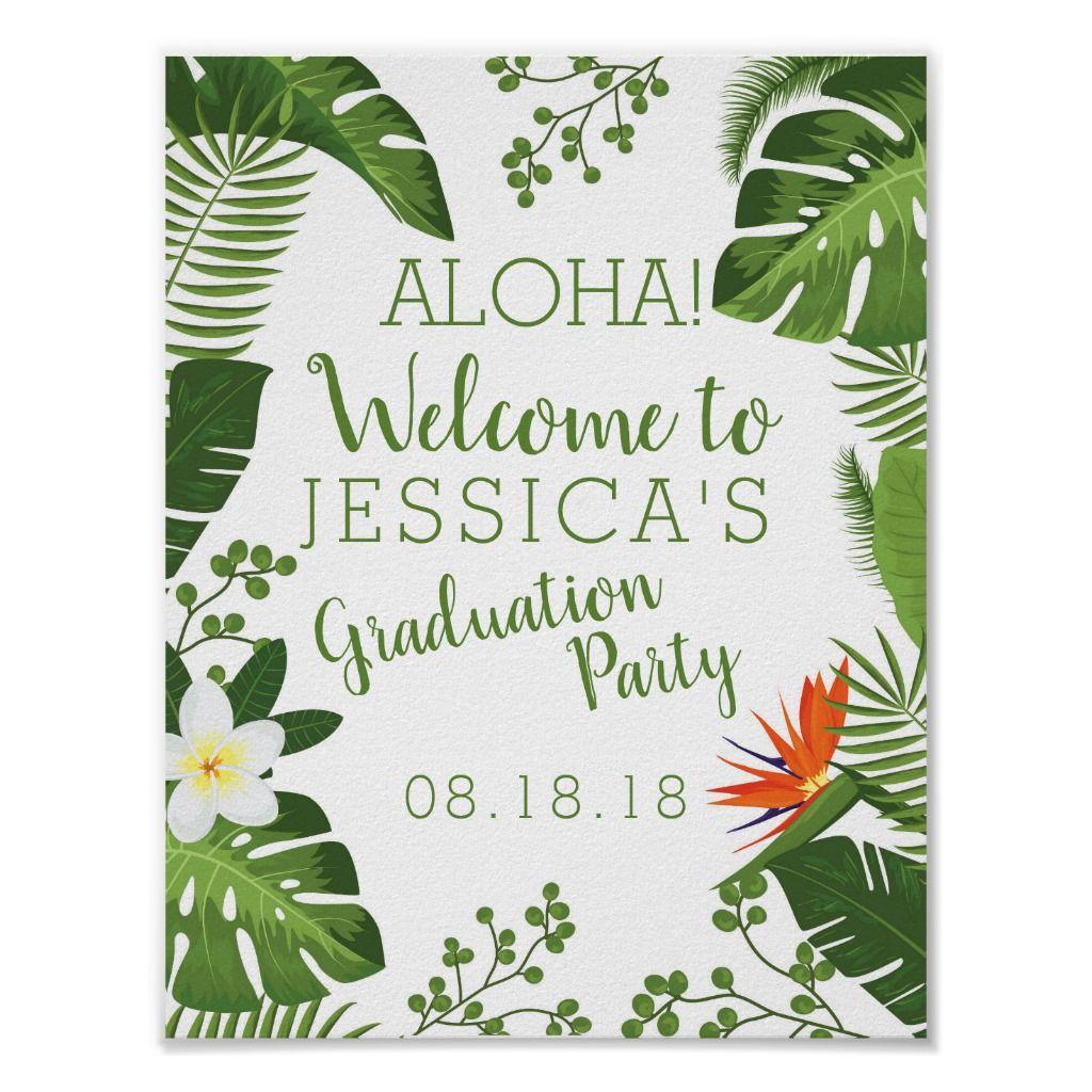 Tropical Hawaiian Luau Graduation Party Sign | Zazzle.com #hawaiianluauparty