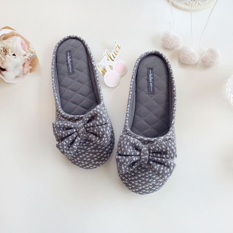 Cute Bowtie Home Slippers Women House Shoes Girls For Bedroom ...
