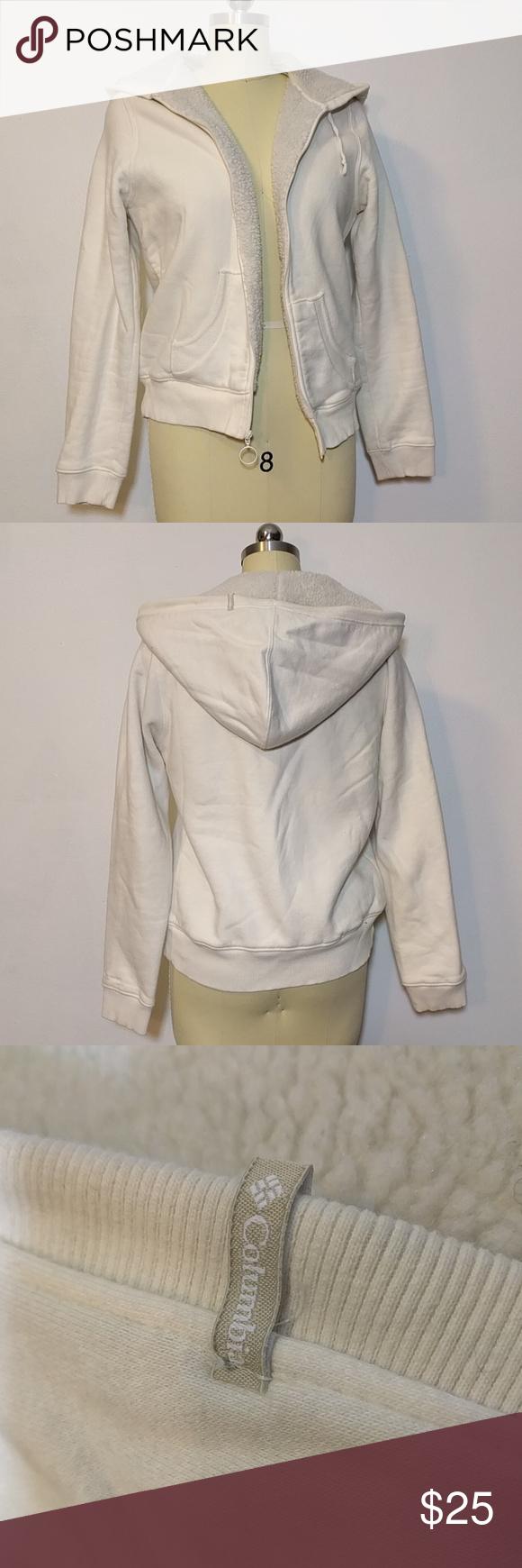 Cream hoodie columbia jacket sherpa fleece lining broad shoulders