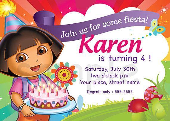 Dora Birthday Invitation Card Digital File By Buljag On Etsy