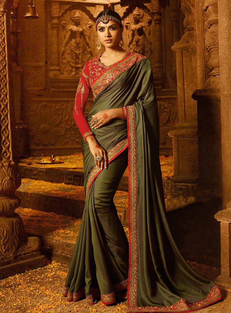 5d9d6f50ec Buy Green Silk Party Wear Saree 140555 with blouse online at lowest price  from vast collection of sarees at Indianclothstore.com.