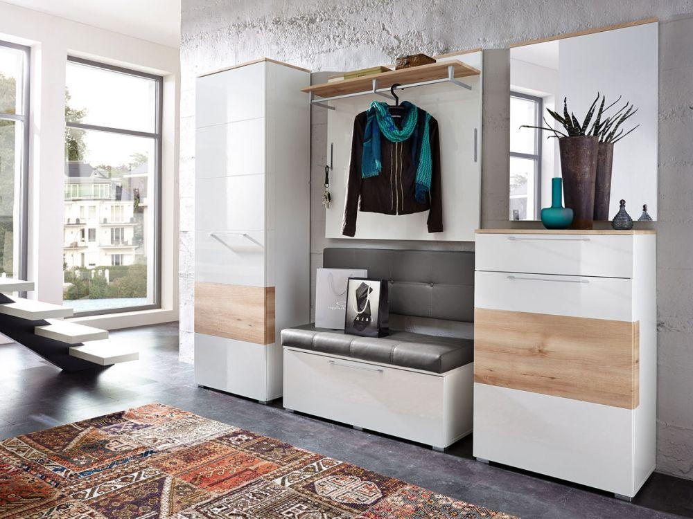 garderoben kombination rene weiss hochglanz weiss hg buche diele und flur in 2019. Black Bedroom Furniture Sets. Home Design Ideas