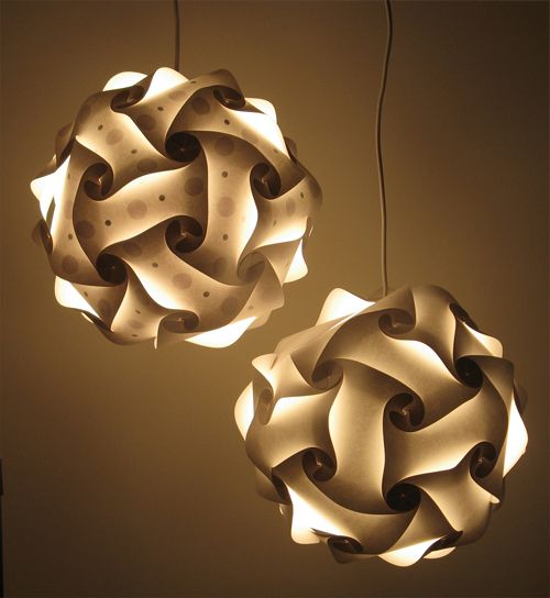 DIY light kit - you decorate the INSIDE of each piece before putting the paper pieces together. Interesting!