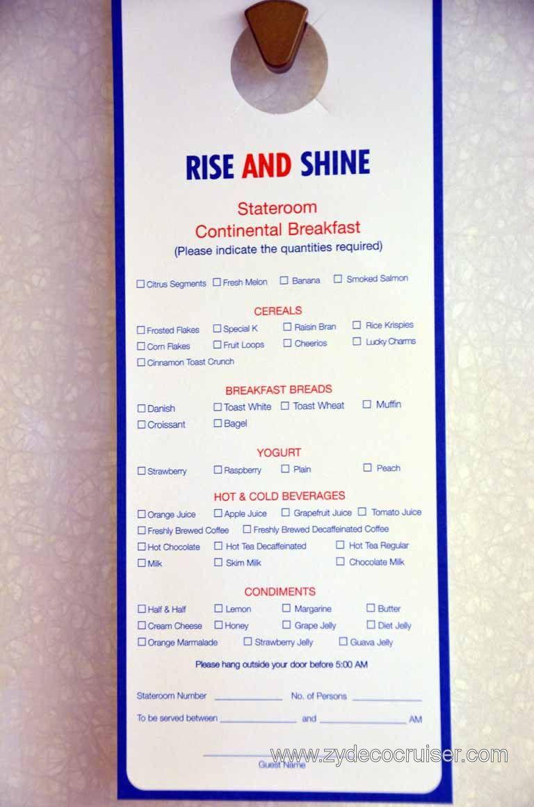 Carnival Breeze Room Service Breakfast Menu