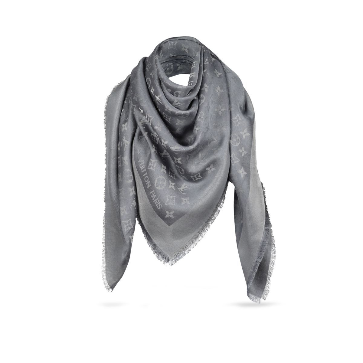 fb03988bee5 Louis Vuitton Monogram Shine Shawl in Gray (Charcoal grey)
