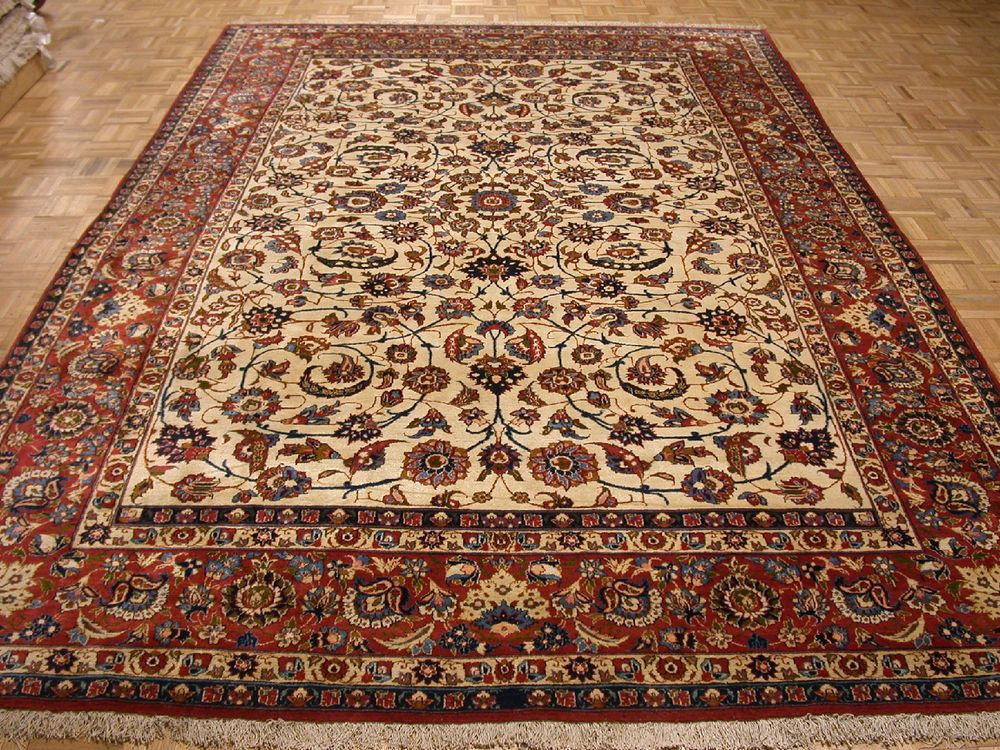 8x13 Antique Persian Oriental Isfahan Ivory Hand Knotted Wool Area