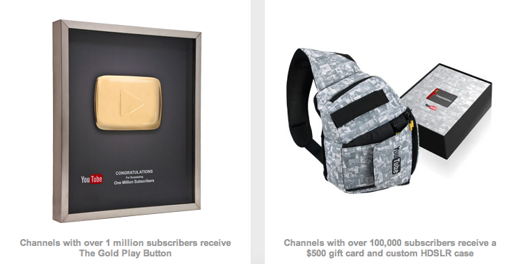 Youtube Partners Reward Program 1 Million Subscribers Receives The Gold Play Button And 100 000 Subscribes Receives A Gold Play Button Play Button Gift Card