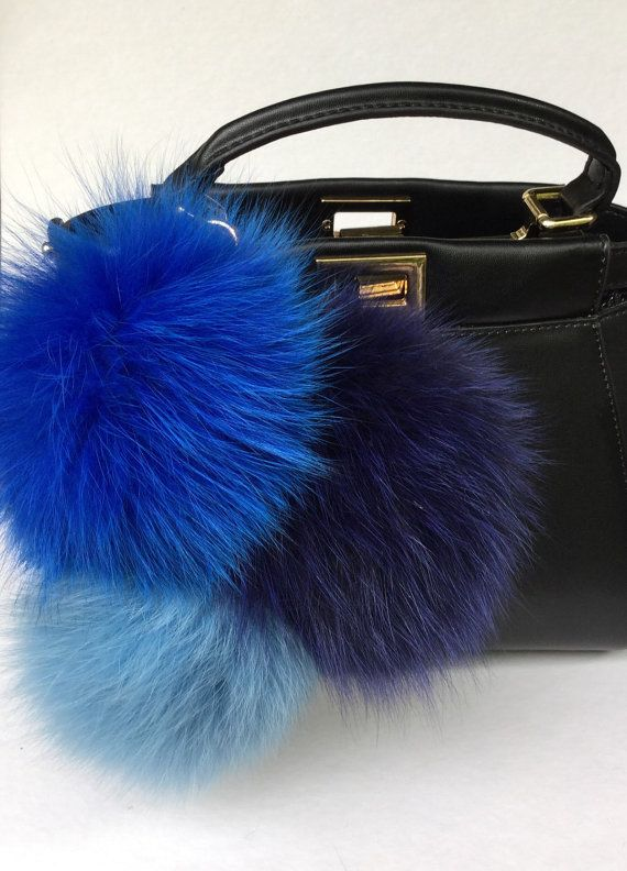 Trio Blue Sky Fox fur pom pom corsage Bag Charm by YogaStudio55 ... 424cee8cd6081