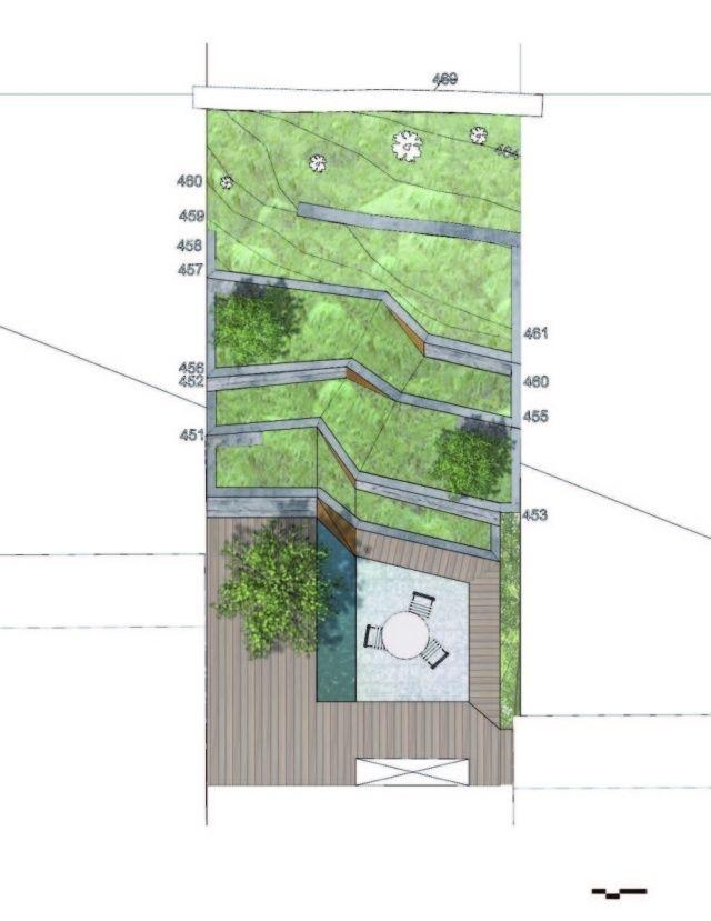 moderne garten hang steil beispiel terrasse - Terrasse Im Garten Herausvorderungen