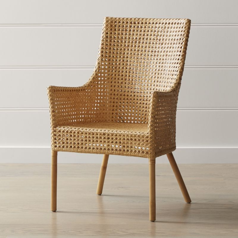 Maluku Natural Rattan Dining Arm Chair Crate And Barrel Rattan