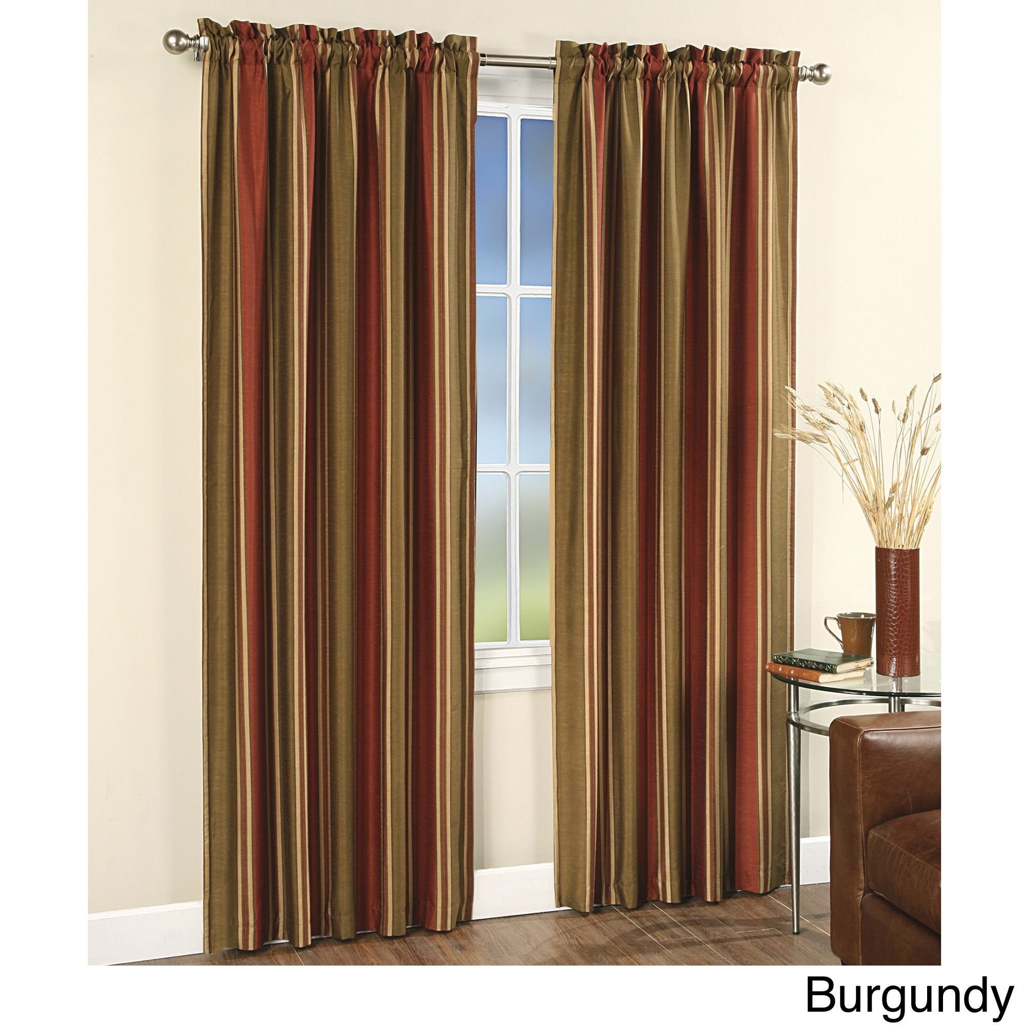 These Fully Lined Graduated Vertical Striped Window Curtain Panels Are