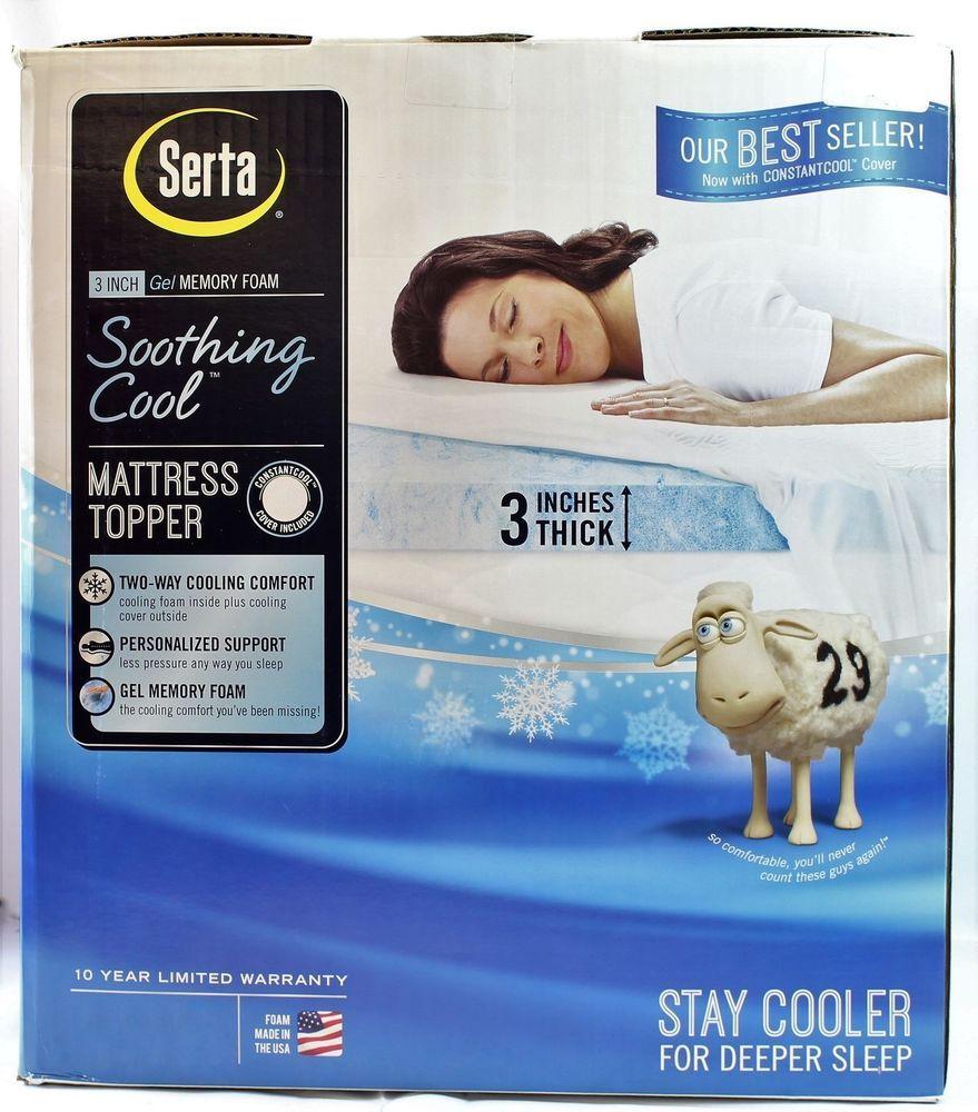 Serta Soothing Cool 3 Inch Gel Memory Foam Mattress Topper Queen New Serta Serta Mattress Topper Mattress Topper Serta Mattress