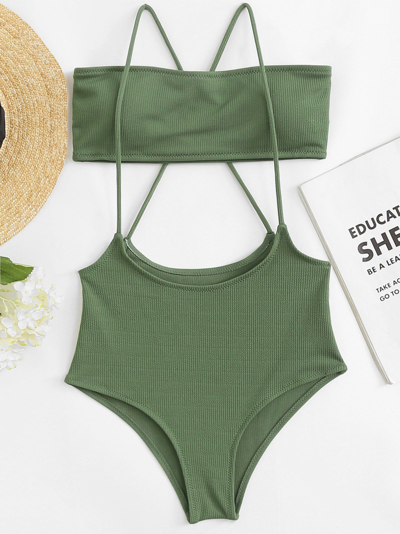 4b5c494fa5e Ribbed Bandeau With Cross Back Suspender Swimsuit in 2019 | Stylin ...