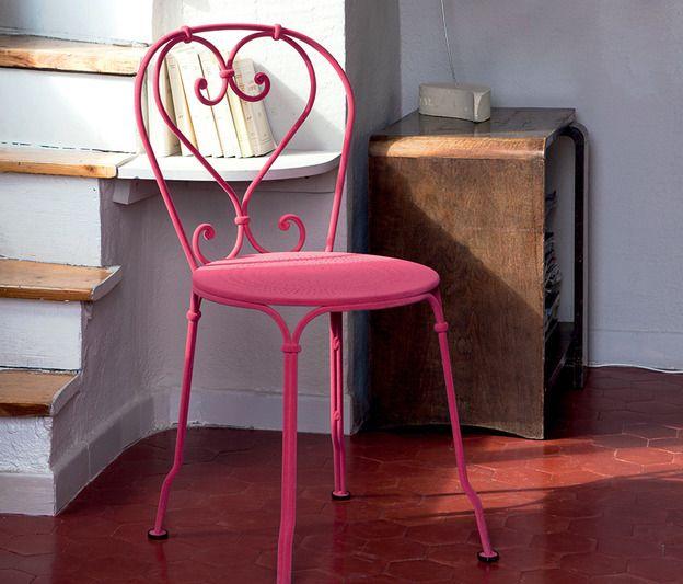Chaise floquée #Fermob #couleur #Fuchsia #1900 pour l ...