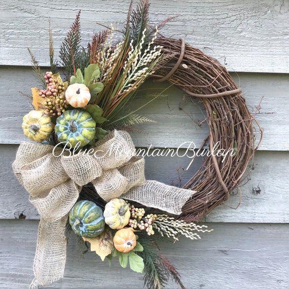Photo of Fall Grapevine Wreath, Fall Wreath, Front Door Wreath, Primitive Wreath