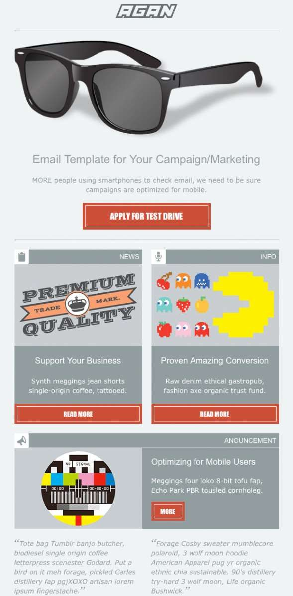 Agan Responsive Email Marketing Template ThemeForest Previewer ...