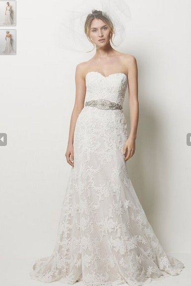 Siren Strapless Sweetheart Flat Over Lace With Sash Count Train A Line Bridal Veil