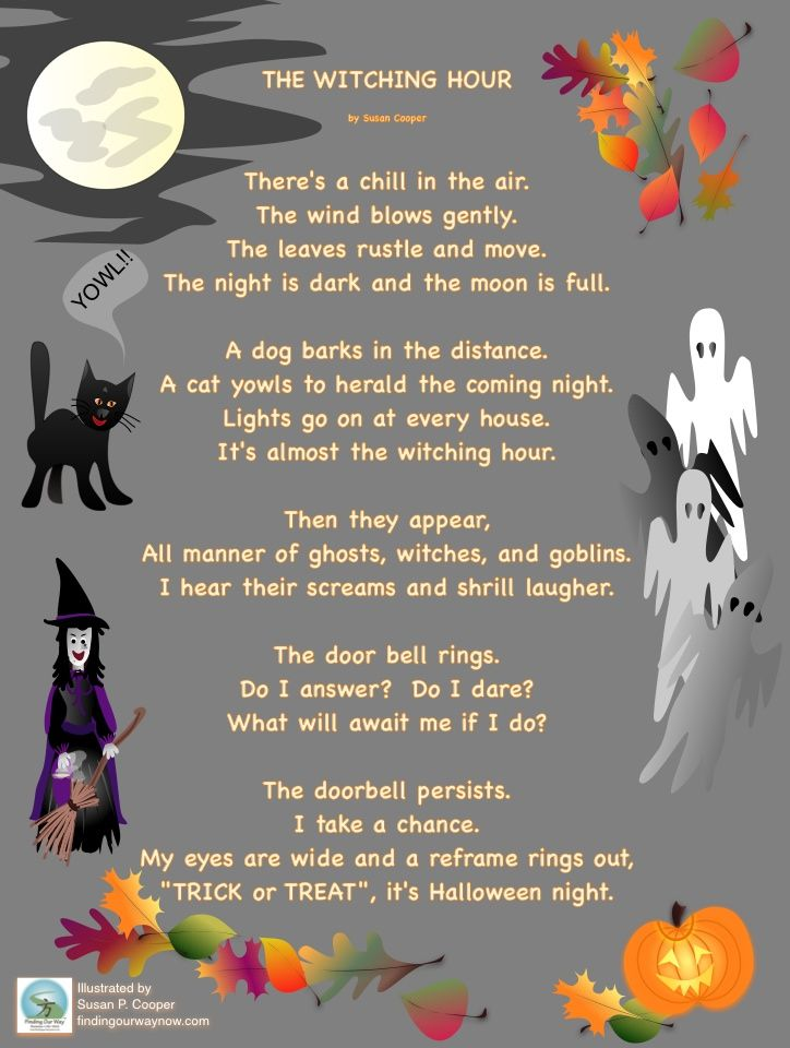 a fun illustrated halloween poem the witching hour check it out - Good Halloween Poems