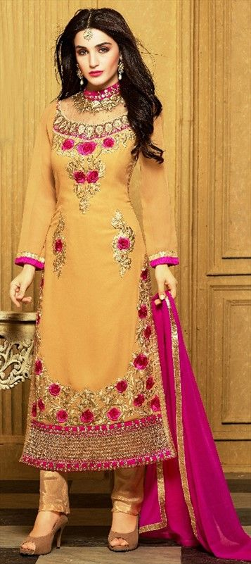 452081 Beige And Brown Color Family Unstitched Party Wear Salwar Kameez Stylish Dresses Types Of Dresses Indian Dresses