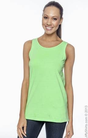 Authentic Pigment 1972 Women's 5.6 oz. Pigment-Dyed & Direct-Dyed Ringspun Tank - JiffyShirts.com