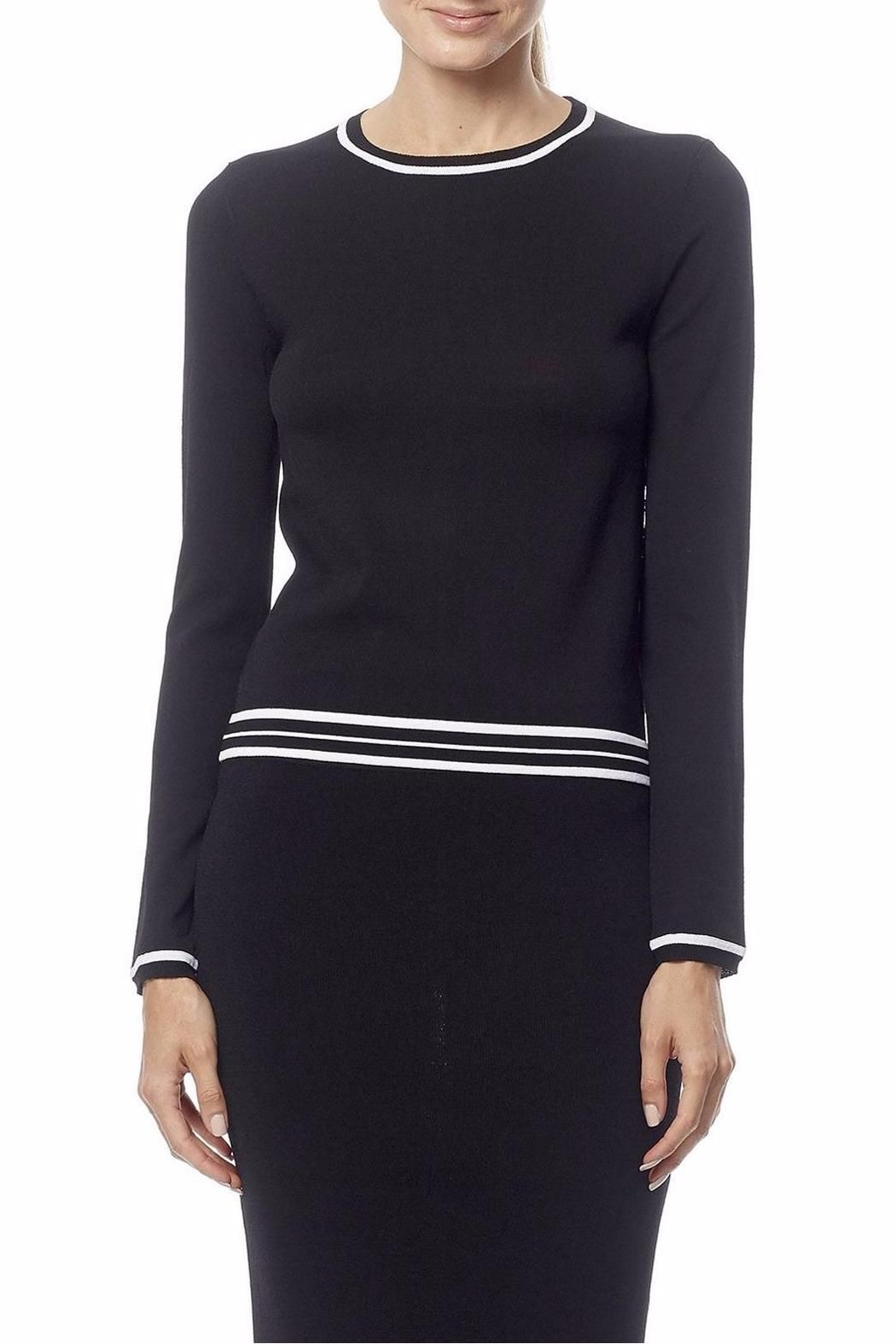 This stretchy crew top is adorned with white stripes on the trims featuring a triangular open slit on the back for a contemporary look. Uma Sweater by 360 Cashmere. Clothing - Sweaters - Crew & Scoop Neck Princeton New Jersey