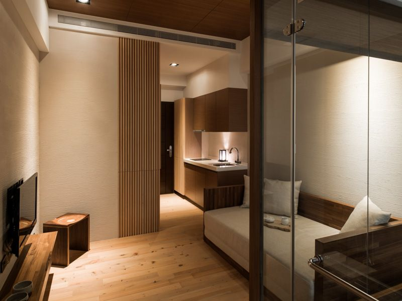 Define The Concept Of The Japanese Modern Houses : Living Area Modern  Japanese House With Sofa And Accordion Divider Also Mounted Tv