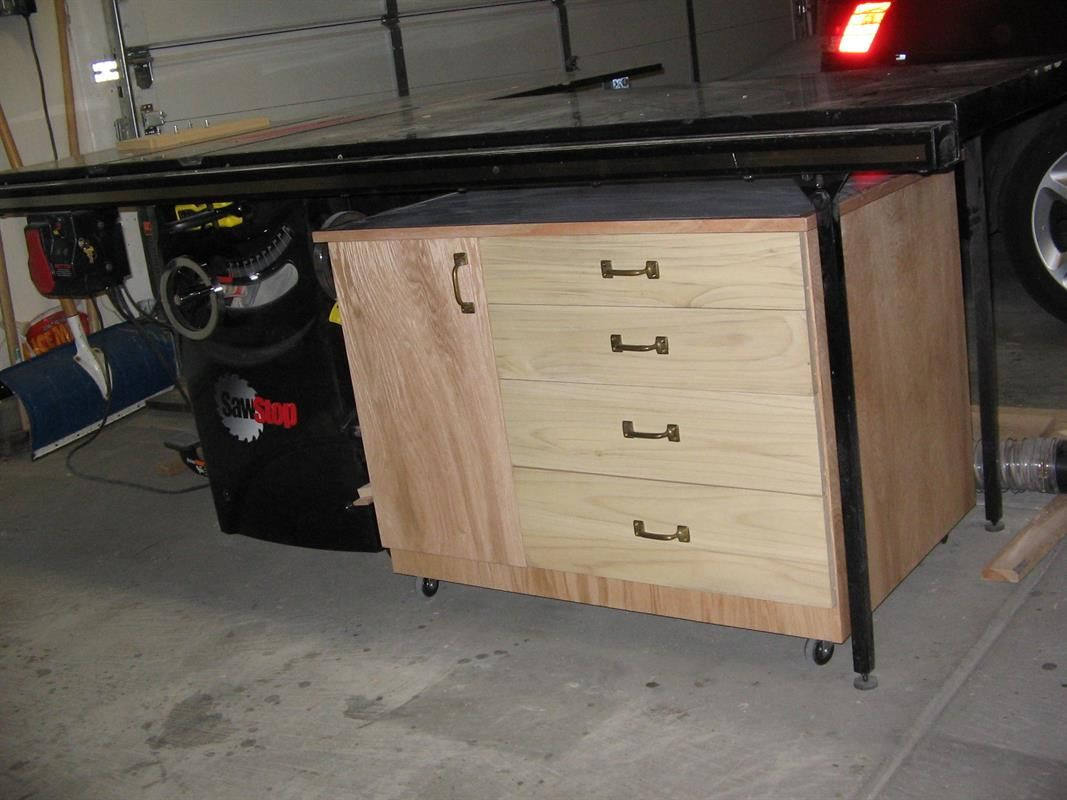 This Easy To Build Table Saw Cabinet Provides 4 Drawers And A Large Cabinet  Space To Store Your Saw Blades, Jigs, Patterns And Other Accessories.
