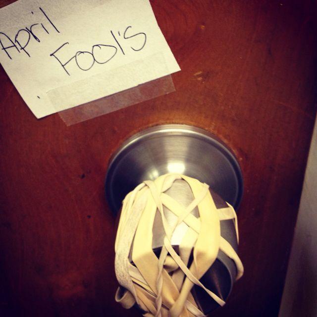 April Fools Joke Rubber Bands Over The Lock Of A Locked Office Door April Fools Day Jokes April Fools Joke April Fools Pranks