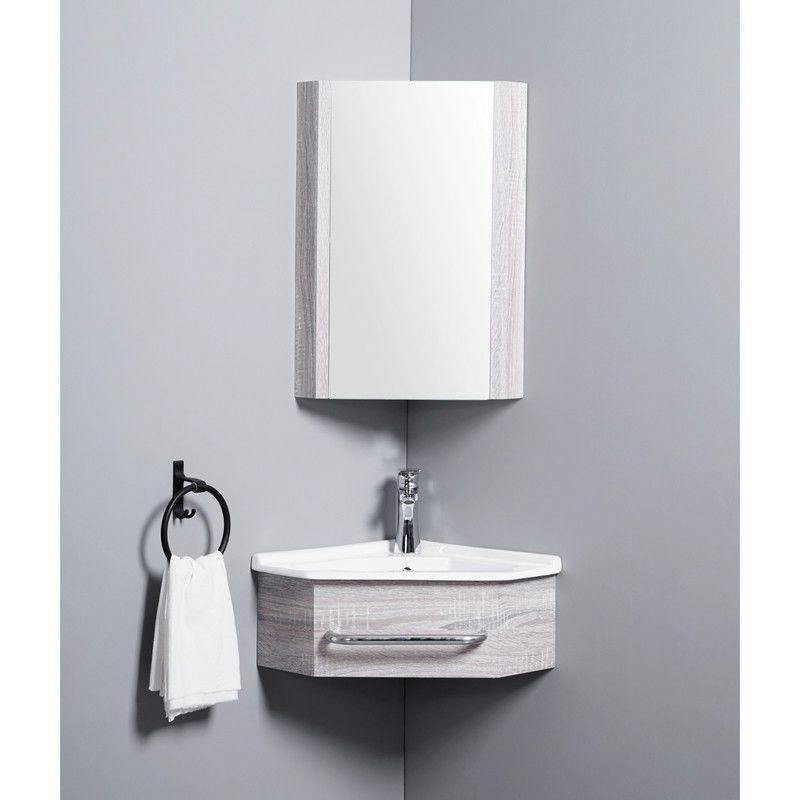 Meuble De Salle De Bain D Angle Gain De Place Lave Main Fil Blanchi 42x42 Cm Kara Rue Du Bain In 2020 Bathroom Furniture Bathroom Vanity