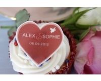24 Personalised, Edible Cupcake Toppers Bird and Heart Design