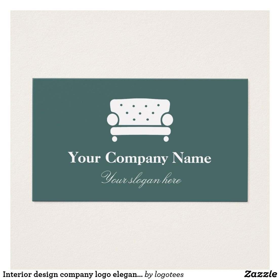 Interior design company logo elegant chair business card