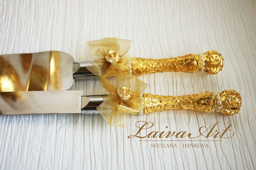 Gold Wedding Cake Server Set & Knife Cake Cutting Set Wedding Cake ...