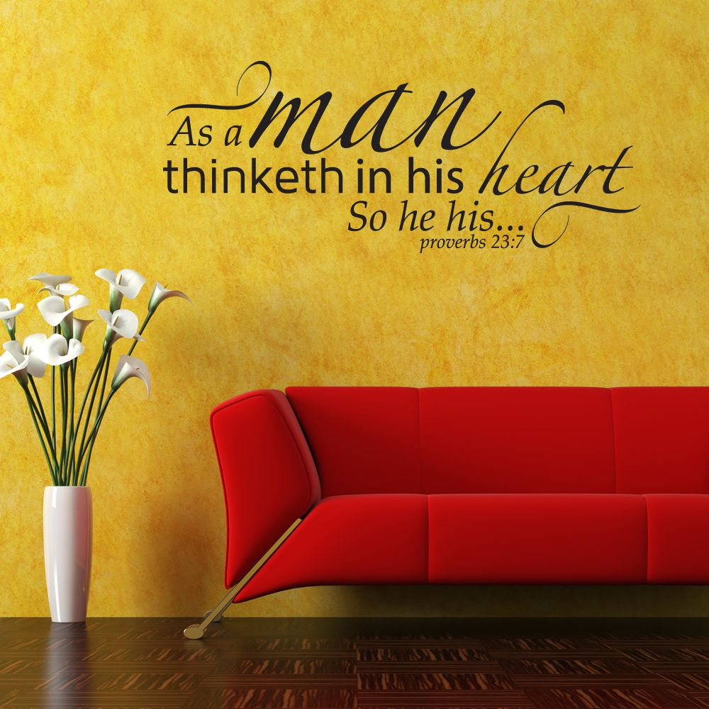 Proverbs 23:7 scripture wall décor, decal | as a man thinketh…so he ...