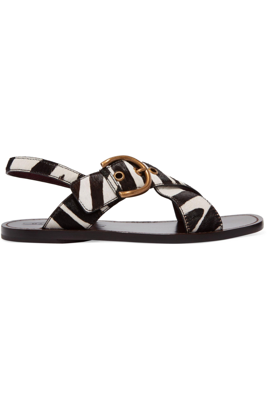 f98a9189f9a5 Patti buckled zebra-print calf hair sandals