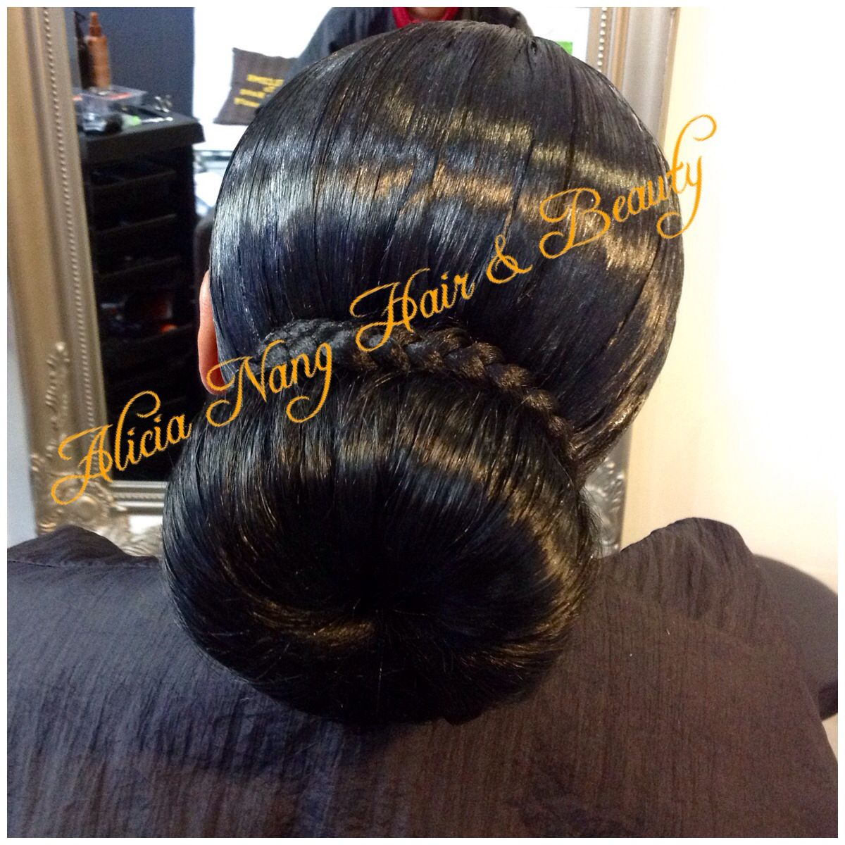 Full Weavon With Lace Closure Style In A Bun For Wedding Ceremony Stylists Hair Beauty Style